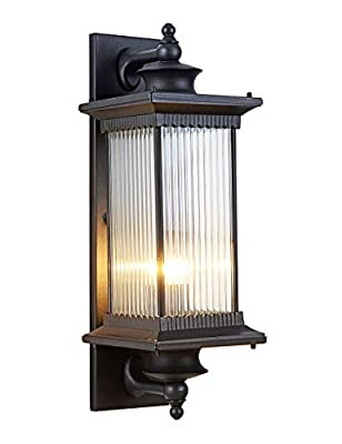 EERU Outdoor Wall Sconce Wall Lantern Lights Fixture?Aluminum Waterproof Wall Light Decor for Exterior House Deck Patio Porch Lighting?Black with Stripe Glass Shape