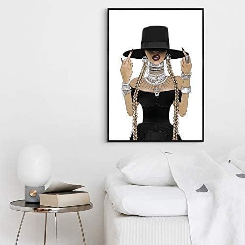 Peinture sur toile Beyonce f/éministe chanteuse Poster Musique Musique Band Star Art mural Peinture /à lhuile D/écoration de la maison 20X30CM