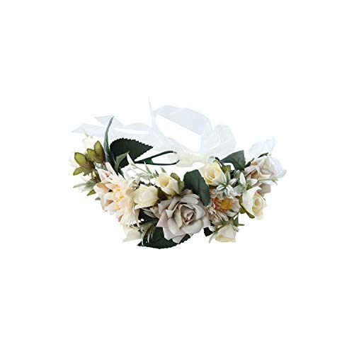 Women Bezel Flower Crown Bridal Floral Headband Wreath New Summer Girls Wedding Hair Accessories Bridesmaid Tiara,Beige