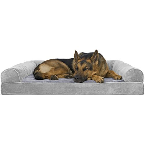 FurHaven Pet Dog Bed | Orthopedic Faux Fur & Velvet Sofa-Style Couch Pet Bed for Dogs & Cats, Smoke Gray, Jumbo