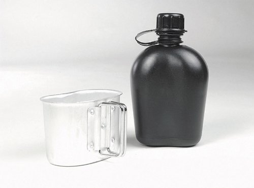 Mil-Tec US Style Canteen & Cup (Black)