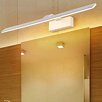 Luces de pared para baño con acabado blanco de aluminio, luces LED de espejo, lámpara de tocador, Warm White, 52 cm 12.00watts: Amazon.es: Iluminación