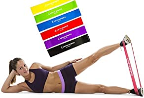 """Exercise Bands - Premium Set of 6 Fitness Resistance Loop Bands 12""""x 2"""" plus E-book Workout Manual by Koyto Sports"""