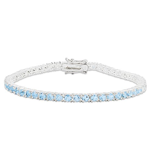 Bracelet Femme-Argent 925/1000-Topaze bleue - 7 mm-Fermoir-JewelryWeb