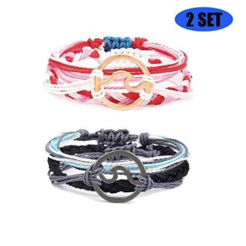 - Jacky Charming Women Girls Wave Bracelet Beach Braided Rope Bohemian Link Bracelet Set Adjustable Friendship Handmade Waterproof Bracelet (Black and Red)