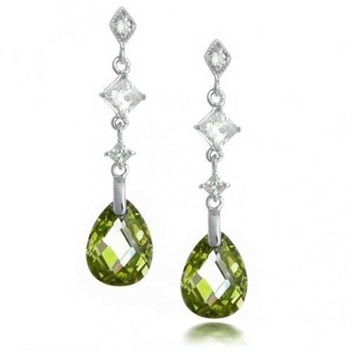 Olive Green Briolette Faceted Teardrop Pear Shape Cubic Zirconia CZ Chandelier Earrings Sterling Silver