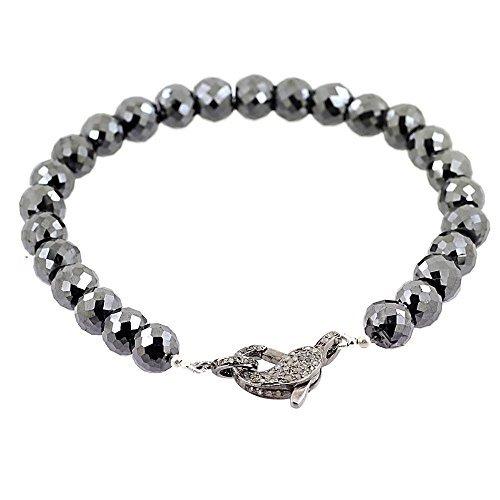Barishh 5mm Black Diamond Faceted Beads Bracelet With Pave Diamond Fish Lock by Barishh