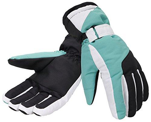 ThunderCloud Women's Winter Cuffed Snowboard/Ski Gloves,Black White (Snowboard Gloves Green)