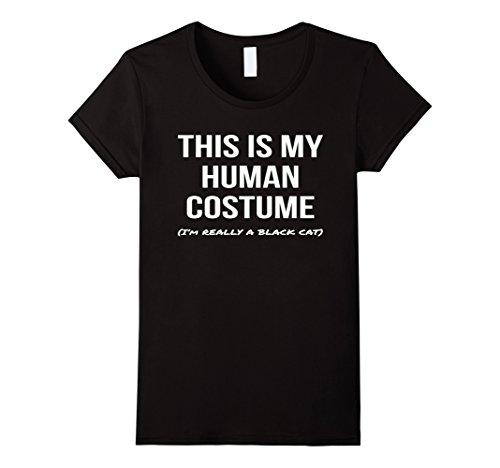 Womens Human Costume I'm a Black Cat Shirt Cosplay Halloween Tee XL Black