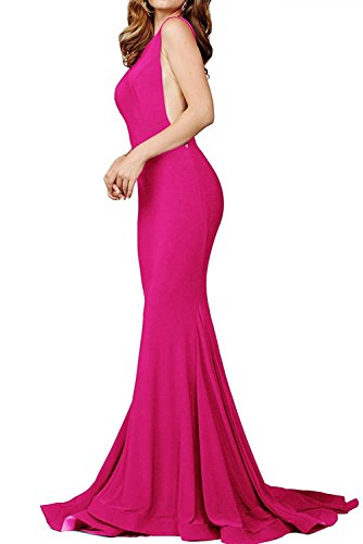 (Prom Dresses Long Sexy Mermaid Evening Party Gowns Formal Dress for Women 2019 Hot Pink Size S)