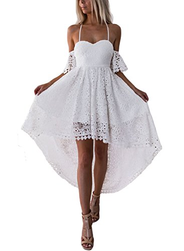 053d863bca20 AlvaQ Women's Ladies Heart Neck Short Sleeve Spaghetti Strap Cold Shouler  Lace Hollow High Low Bridesmaid Wedding Party Cocktail Midi Dress Small  White