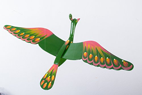 Green Bird Mobile Wood Carved Hand Painting Wooden Hanging Horn Bill Porch Decor