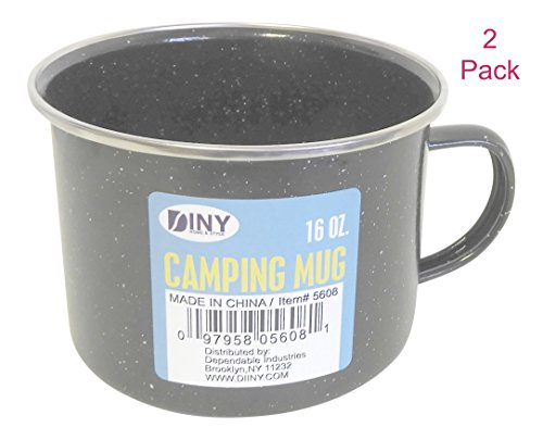 - (Set of 2) Multi-purpose 16 Ounce Black Enamel Camping Mug