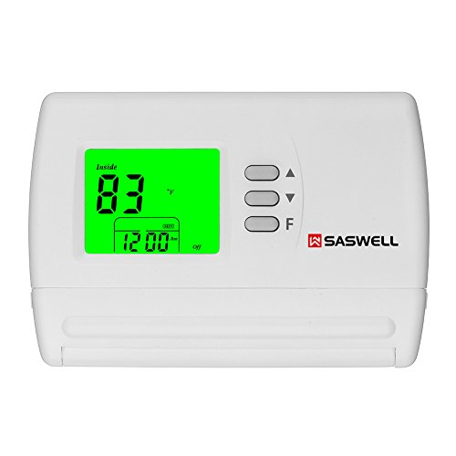 (Single Stage 5-2 Programmable Thermostat,24 Volt or Millivolt System,1 Heat 1 Cool,Saswell SAS900STK-2)