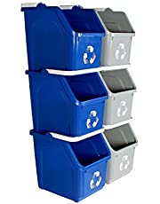 Busch Systems 6 Pack Multi Recycler with Recycling Logo - Blue | Grey