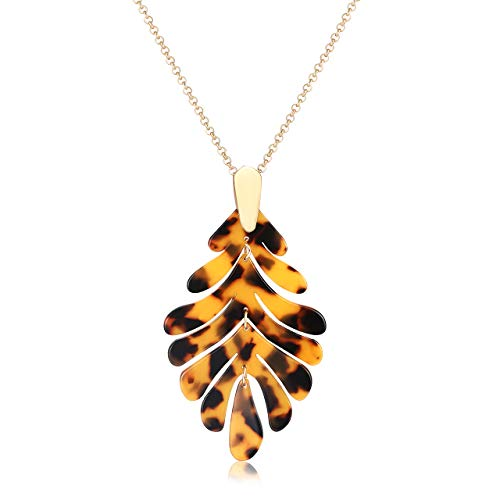 YINL Acrylic Pendant Necklace – Long Leaf Charm Necklace Chain Statement Tortoise Shell Resin Palm Leaf Fashion Necklaces for Women Girls (Tortoiseshell) - Shell Fashion Necklace Jewelry