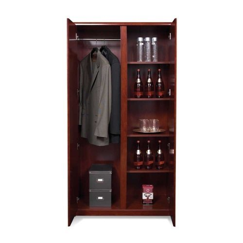 Wardrobe Storage Armoire w Hidden Bar & Five Shelves - Sonoma (Office Armoire Hidden)