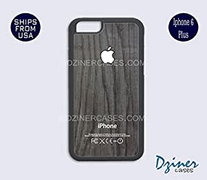 iPhone 6 Plus Case - Grey Wood Print White Design iPhone Cover (NOT REAL WOOD)