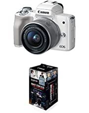 Canon EOS M50 Mirrorless Vlogging Camera Kit with EF-M 15-45mm Lens, 4K Video, Built-in Wi-Fi, NFC and Bluetooth Technology, White & Accessories Starter Kit for EOS M50 Mark II, M50, M200
