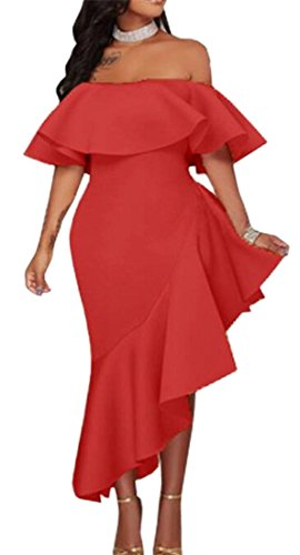 Red Off Sleeve Shoulder Womens Irregular Short Ruffled Fashion Jaycargogo Dresses nxOaq1n
