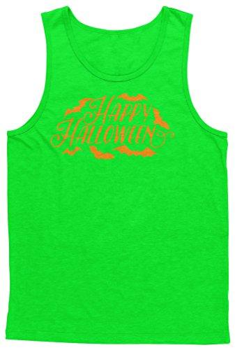 Blittzen Mens Tank Happy Halloween Bats, 2XL, Lime -