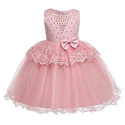 Children's Sleeveless Ruffled Bow Beads lace Dress