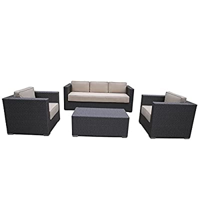Abba Patio 4 Pcs Outdoor Brown Wicker Patio Furniture Set Garden Lawn Sofa with Cushioned Seat