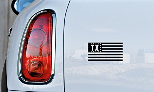 Texas TX State Flag Star Car Vinyl Sticker Decal Bumper Sticker for Auto Cars Trucks Windshield Custom Walls Windows Ipad Macbook Laptop and More (Black)