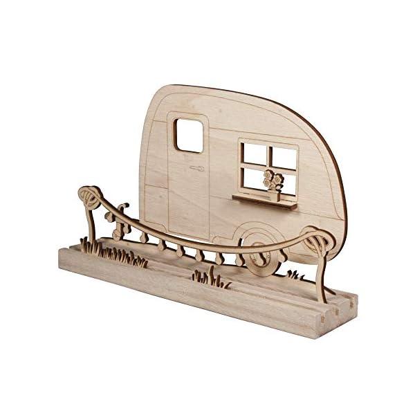 41qQU TBMDL Rayher 46423505 Holzmotiv Wohnwagen, FSC zertifiziert, natur, 20 x 11,5 x 0,4 cm, 6teilig, zum basteln und bemalen