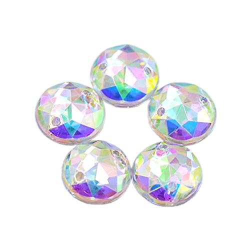 Succi shan 100pcs Round Beads Crystal AB Clear Color Sew On Acrylic Rhinestones Flatback Fancy Stones Sewing For Clothing Wedding Dress Decorations (12MM)