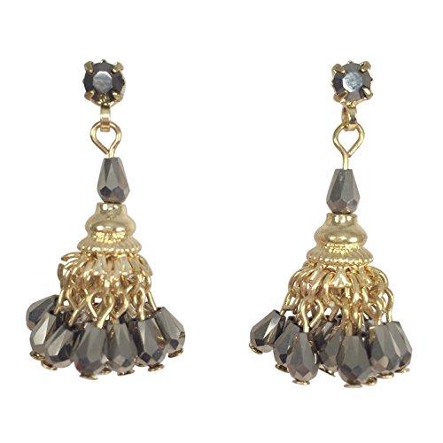 Pom Pom Glass Bead Chandelier Fancy Gold Tone Dangle Post Earrings (Hematite Grey)