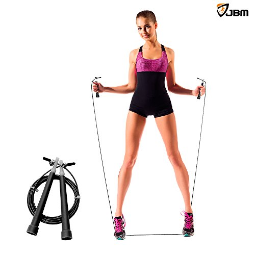 JBM Speed Jump Rope by JBM Adjustable Skipping Rope for Double Unders Cardio Crossfit Boxing Fitness, Speed Rope to Lose Weight, Jumping Rope for Women, Men & Kids of All Heights and Skill Levels