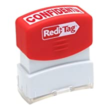 Redi-Tag-Pre-Inked Confidential Stamp, Impression Size:9/16 X 1-11/16-Inch, Red-97006