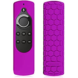 Fintie CaseBot Silicone Case for Amazon Fire TV Stick Voice Remote, Compatible with Amazon Echo / Echo Dot Alexa Voice Remote - Honey Comb Series [Anti Slip] Shock Proof Cover, Purple