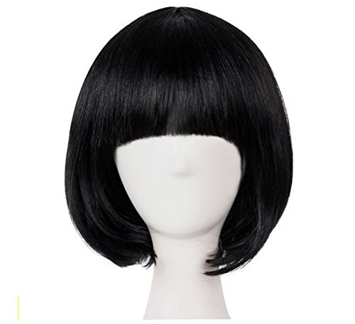 T&T Short Straight Hair Wig Bob Wig Short Bob Oka Cosplay Costume Fashion Fashion Halloween Costume Natural Hairstyle (Black) -