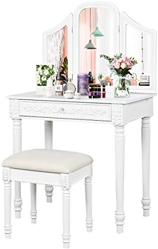 CHARMAID Vanity Set with Tri-Folding Mirror and Large Drawer, Makeup Vanity Table Set with Removable Top for Bedroom Bathroom, Makeup Dressing Table with Cushioned Stool for Girls Women