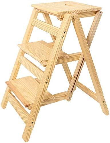 ZfgG Taburete Plegable Silla/Escalera con 3 Pasos, de Madera Escalera del Taburete, Escalera de Mano, de Alta Taburete de jardín Implementar Altura 66cm Heavy Duty MAX.150kg Hecho de Madera: Amazon.es: Hogar
