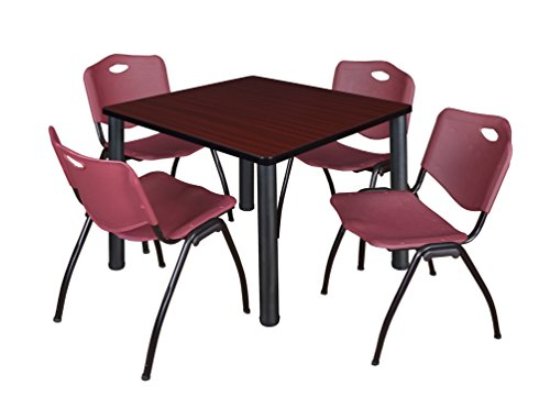 """Kee 42"""" Square Breakroom Table- Mahogany/ Black & 4 'M' Stack Chairs- Burgundy"""
