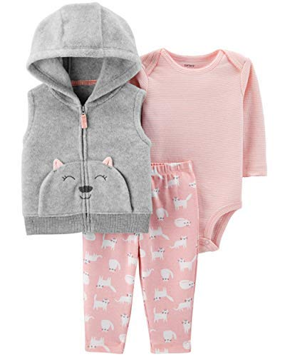 Carter's Baby Girls' Vest Sets (Newborn, Grey Stripe Kitty)