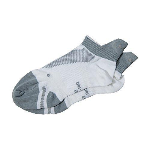 Nike Elite Lightweight No-Show Tab Running Socks (4-5.5, White/Wolf Grey/White)
