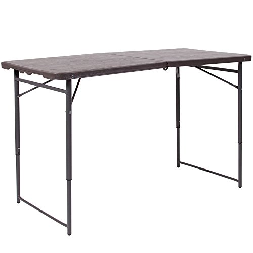 - Flash Furniture 23.5''W x 48.25''L Height Adjustable Bi-Fold Brown Wood Grain Plastic Folding Table with Carrying Handle
