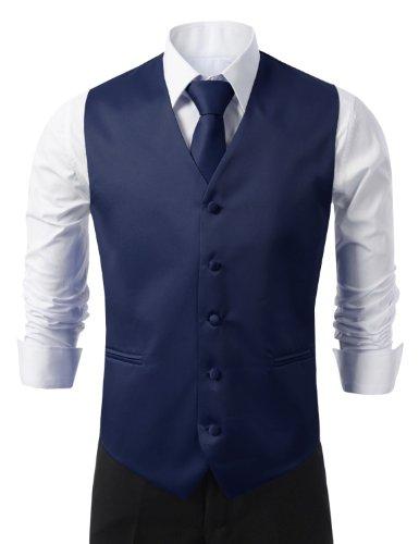 IDARBI for MEN 3 Pieces Set Solid Formal Tuxedo Vest Set / NAVY-LARGE