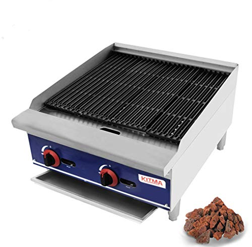 - KITMA Commercial Countertop 24'' Gas Lava Rock Charbroiler Stainless Steel Flat Top Char Rock Broiler with Grill - Restaurant Equipment
