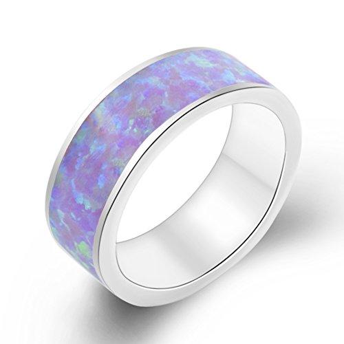 Sterling Silver Opal Band 5.5mm Wedding Promise Ring Men Women Comfort Fit Multicolors (9, purple) ()