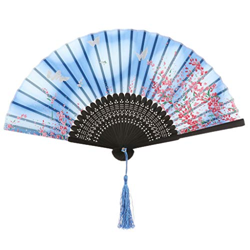 Agordo Chinese Japanese Flower Handheld Fan Folding Pocket Fan Wedding Party Favor |Color - Blue