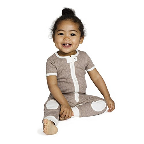 Baby deedee Short Sleeve Cotton 1 Piece Footless Romper Pajama, 18-24 Months, Mocha Heather