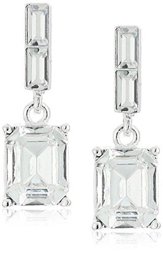 1928 JewelryEstate Swarovski Collection Silver-Tone Octagon Swarovski Crystals Drop Earrings
