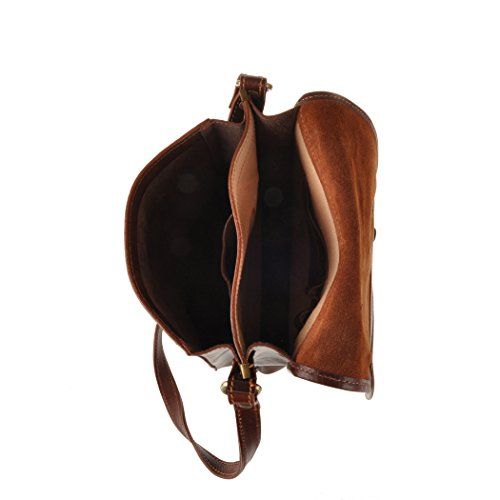 Bag brown Pellevera Italian Riva Leather Small Messenger Brown nUXYn