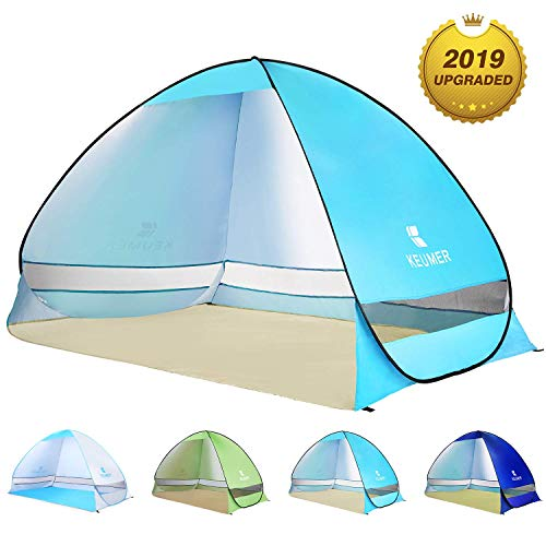 BATTOP Pop Up Beach Tent Sun Shelter Cabana Anti UV Beach Shelter for 2-3 Person Outdoor Sets up in Seconds(LightBlue)