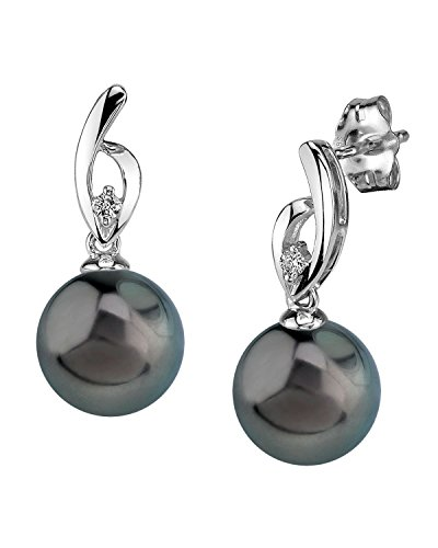THE PEARL SOURCE 14K Gold 9-10mm Round Black Tahitian South Sea Cultured Pearl & Diamond Lois Earrings for Women